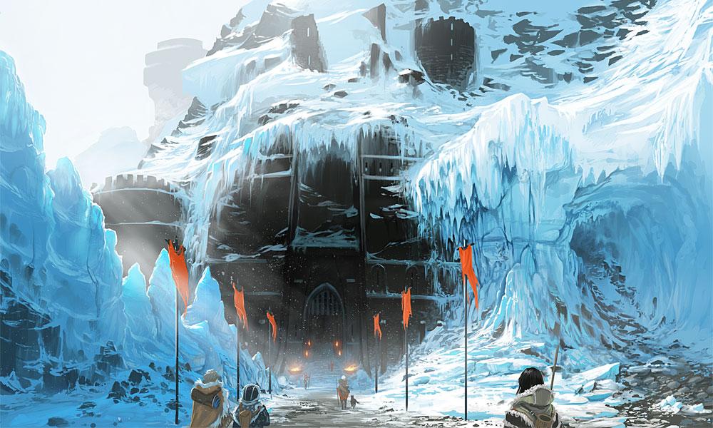 Concept art de una edificación en una zona helada.