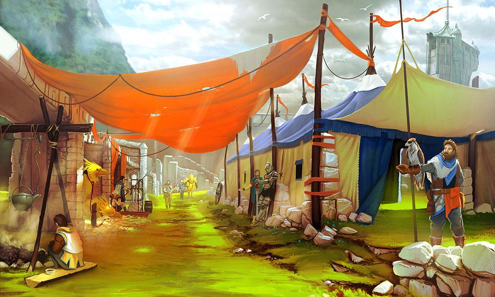 Concept Art de un asentamiento comercial