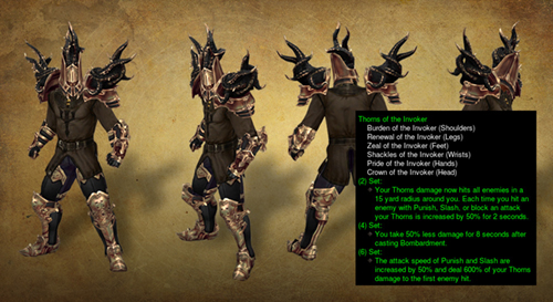 Thorns of the Invoker, al igual que algunos otros sets, cambiará sus efectos y estadísticas tras el parche 2.4