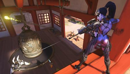 Gameplay de Overwatch. En imagen, el personaje Widowmaker. Fuente: Lagzero.