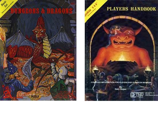Primera edición del set Básico del D&D y del libro del jugador del AD&D, al que había que acompañar del libro del DM y el compendio de monstruos