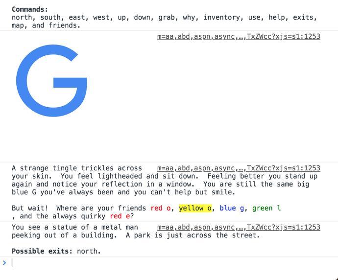 Hay una aventura conversacional en el código fuente de Google